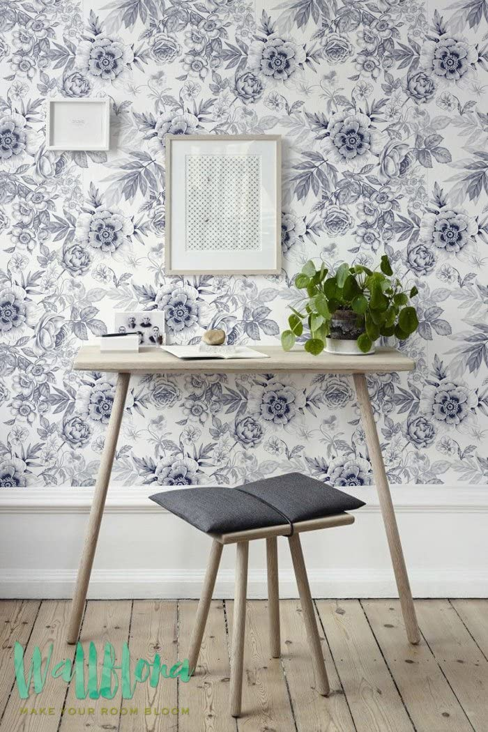 Amazon Com Grey Floral Pattern Wallpaper Floral Wallpaper Removable Wallpaper Floral Wall Sticker Grey Wall Decal Floral Self Adhesive Home Improvement