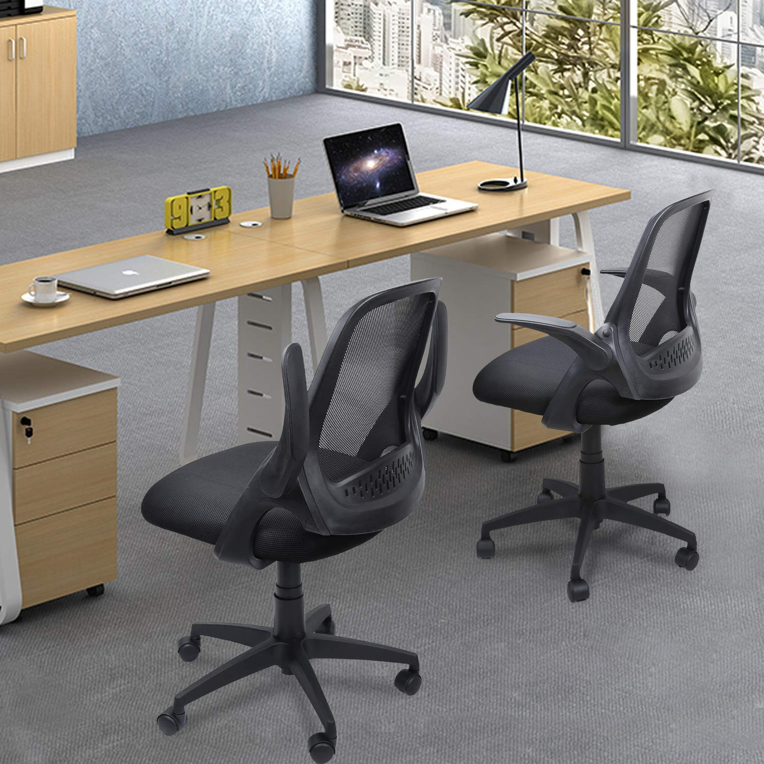Ergousit Mid-Back Mesh Office Chair, Ergonomic Desk Chairs Swivel Computer Task Chairs with Adjustable Height and Flip-up Armrest - Lumbar Support and Sponge Cushion in Black (Black) by Ergousit (Image #8)