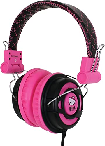Hello Kitty DJ Style Over the Ear Foldable Headphones – Retail Packaging – Pink Black