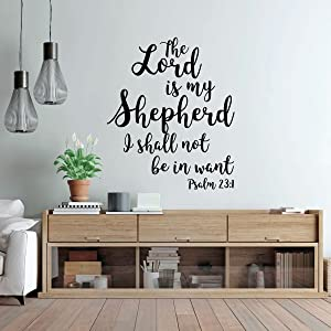 23 Psalm Wall Art - Christian Bible Verse Vinyl Decal Lettering - The Lord is My Shepherd - Religious Decor for Home, Office, or Church - Funeral Decoration or Sympathy Gift