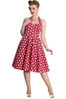 Hell Bunny 60's Red and White Dots Romance Halter Flare Party Dress