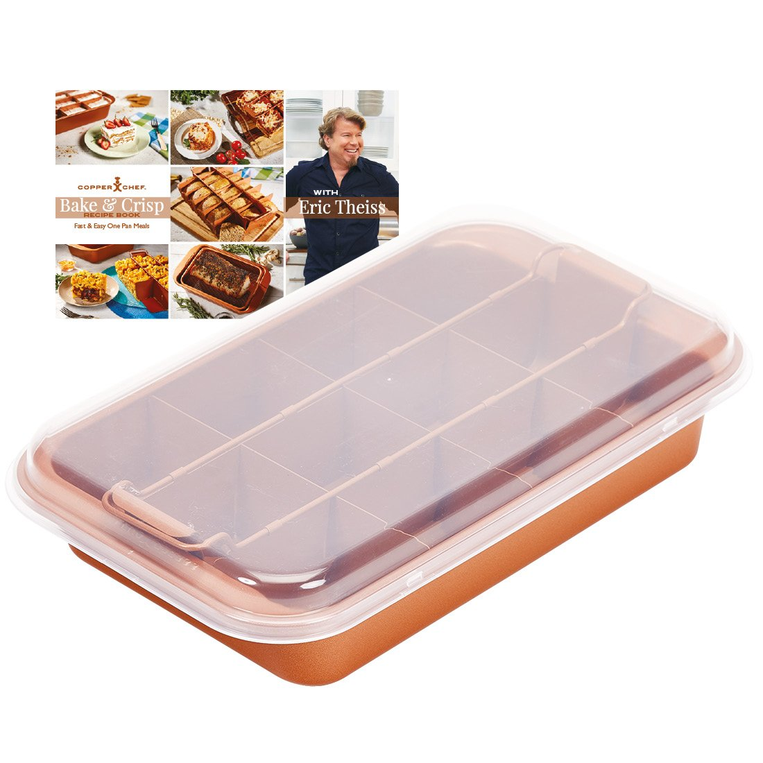 Copper Chef Non-Stick Deep Sided Square Pan Kit, Copper, 9.5-Inch, Large, 10-Piece Set CC10