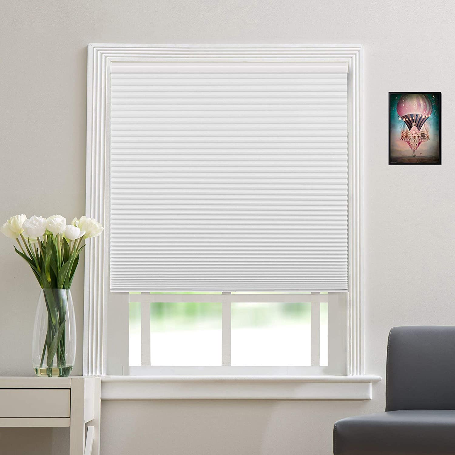 Blackout Window Shades Cordless Cellular Blinds for Window, Insulated Honeycomb Shades for Home Office Bedroom Living Room [White-Blackout, Size 58