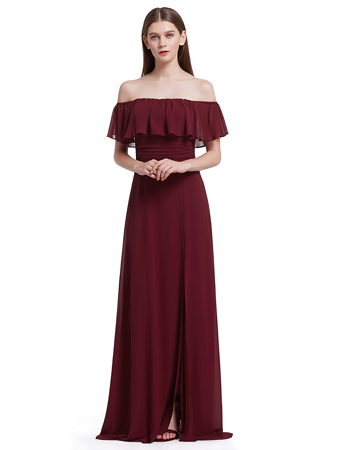 ebf253ba38b Ever-Pretty Womens Elegant Sleeveless Floor Length Ruffles Chiffon  Bridesmaids Dress 07201 at Amazon Women s Clothing store