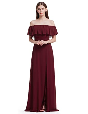 44bf2577db9 Ever-Pretty Womens Off Shoulder Long Maxi Evening Party Dress 4US Burgundy