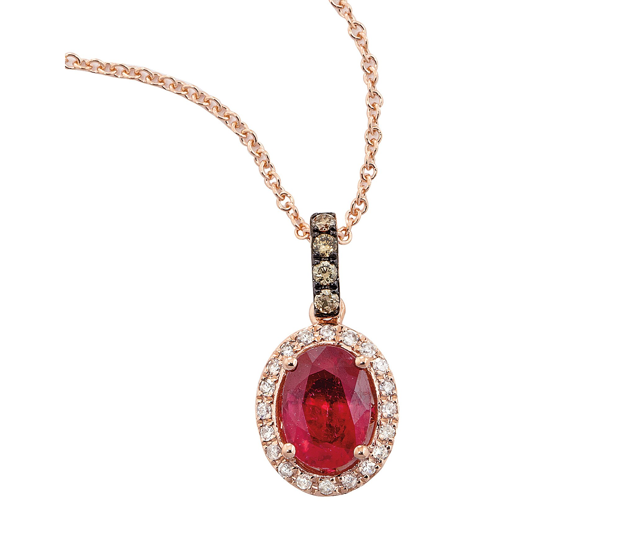 Effy Lead Glass-Filled Ruby and 0.14 ct. t.w. Diamond Pendant in Rose Gold