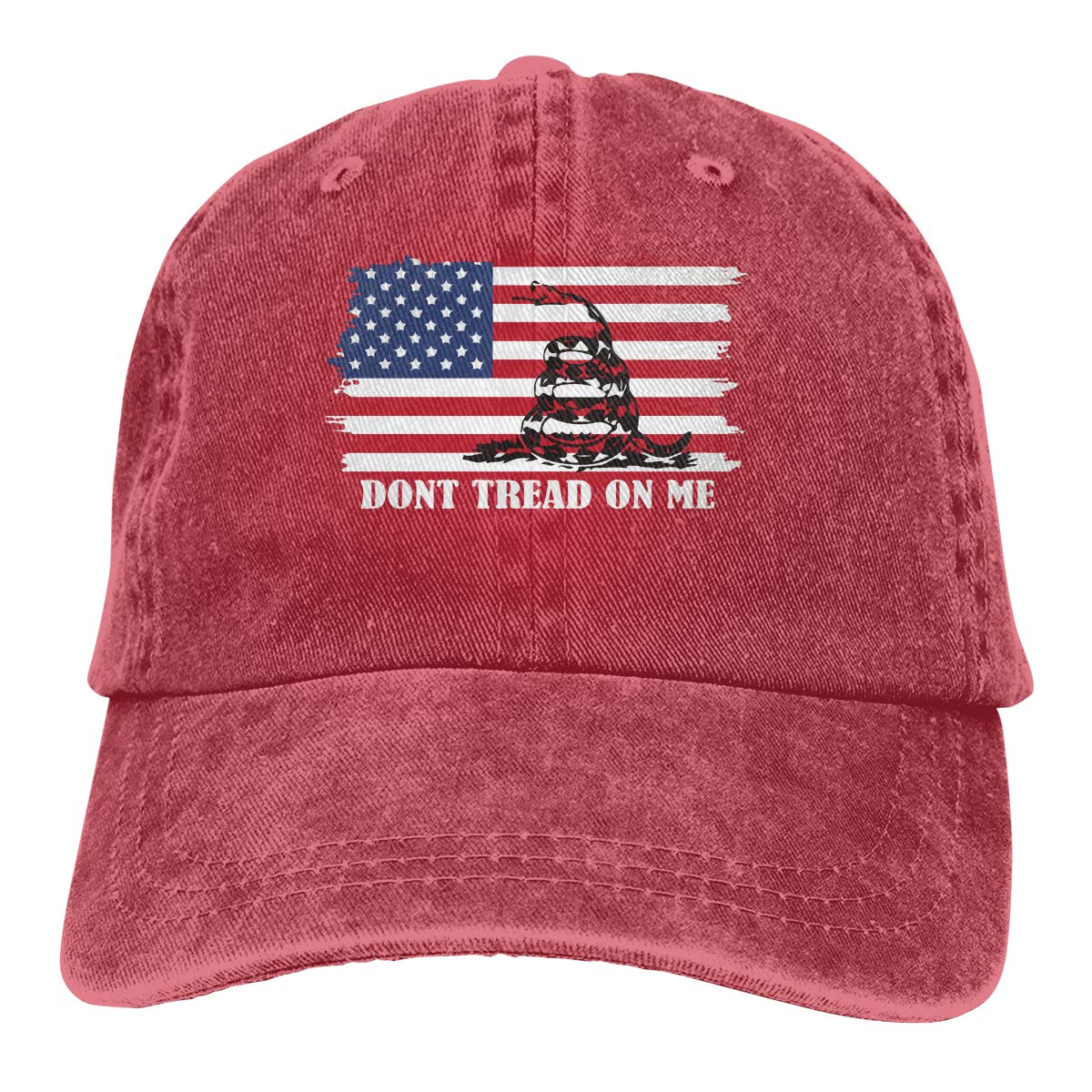 Men Women Vintage Denim Fabric Baseball Cap Dont Tread On Me Plain Cap