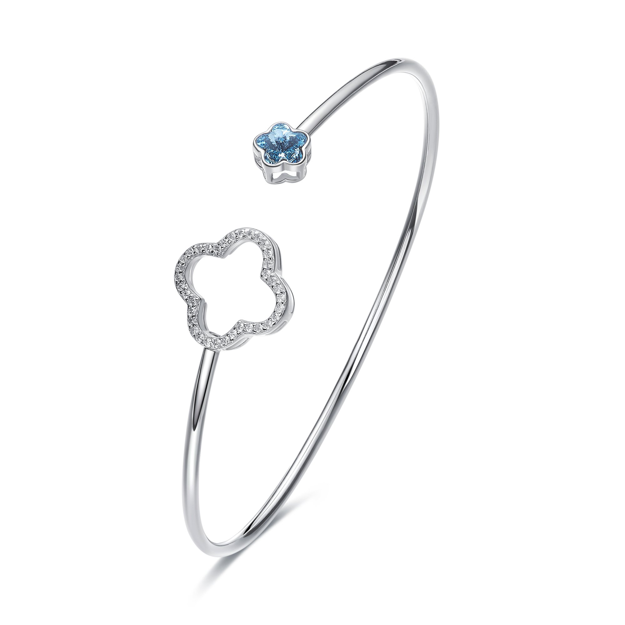 CDE Bracelets for Women Sterling Silver Swarovski Crystal Open Cuff Bangle Bracelet Smooth Hollow Hoop Gifts for Girls