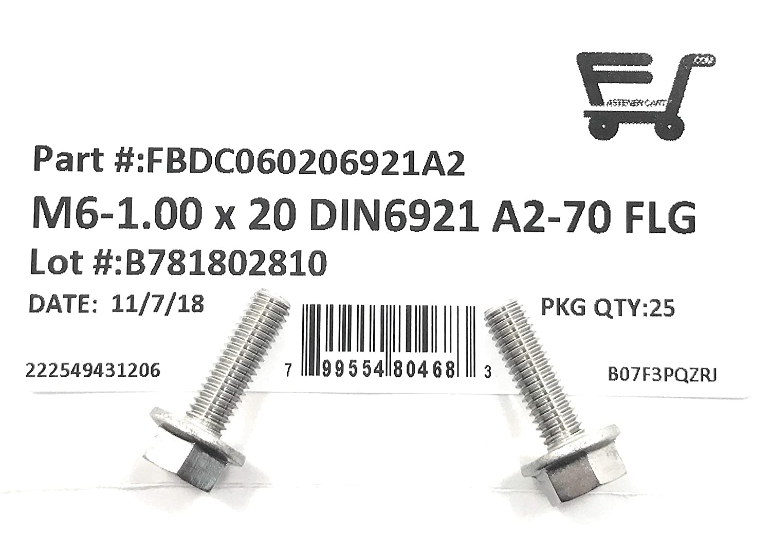 M6-1.00 x 20 Stainless Steel Flange Bolt DIN 6921 A2 Stainless Steel M6x20 25 Pieces