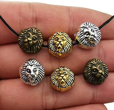 45pcs Antique Silver Bronze Gold Mixed Leopard Head Loose Spacer Bead,Craft Supplies Charms Pendants for Jewelry Findings Making Accessory for DIY Bracelet Necklace M196