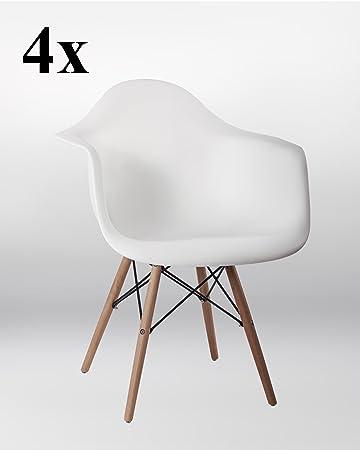 4er Set Stuhl Esszimmerstühle Küchenstühle in WEISS Küchenstuhl mit ...