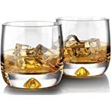MOFADO Crystal Whiskey Glasses - Trendy/Curved - 11oz (Set of 2) - Hand Blown Crystal - Thick Weighted Bottom Rocks Glasses -