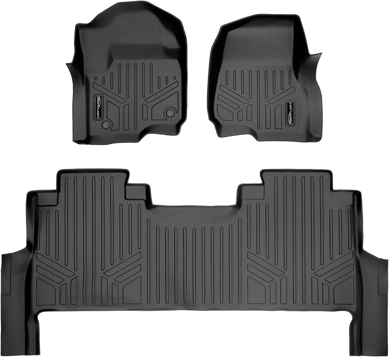MAXLINER Fit Floor Mats 2nd Row Liner Black for 2017-2021 Super Duty Crew with Vinyl Flooring and 2nd Row Bench Seat