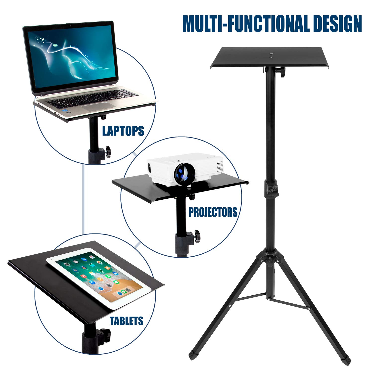Mount-It! Tripod Projector Stand, Adjustable DJ Laptop Stand with Height and Tilt Adjustment, Portable Laptop Projector Table with Steel Tripod Base and Tray, Black by Mount-It! (Image #2)