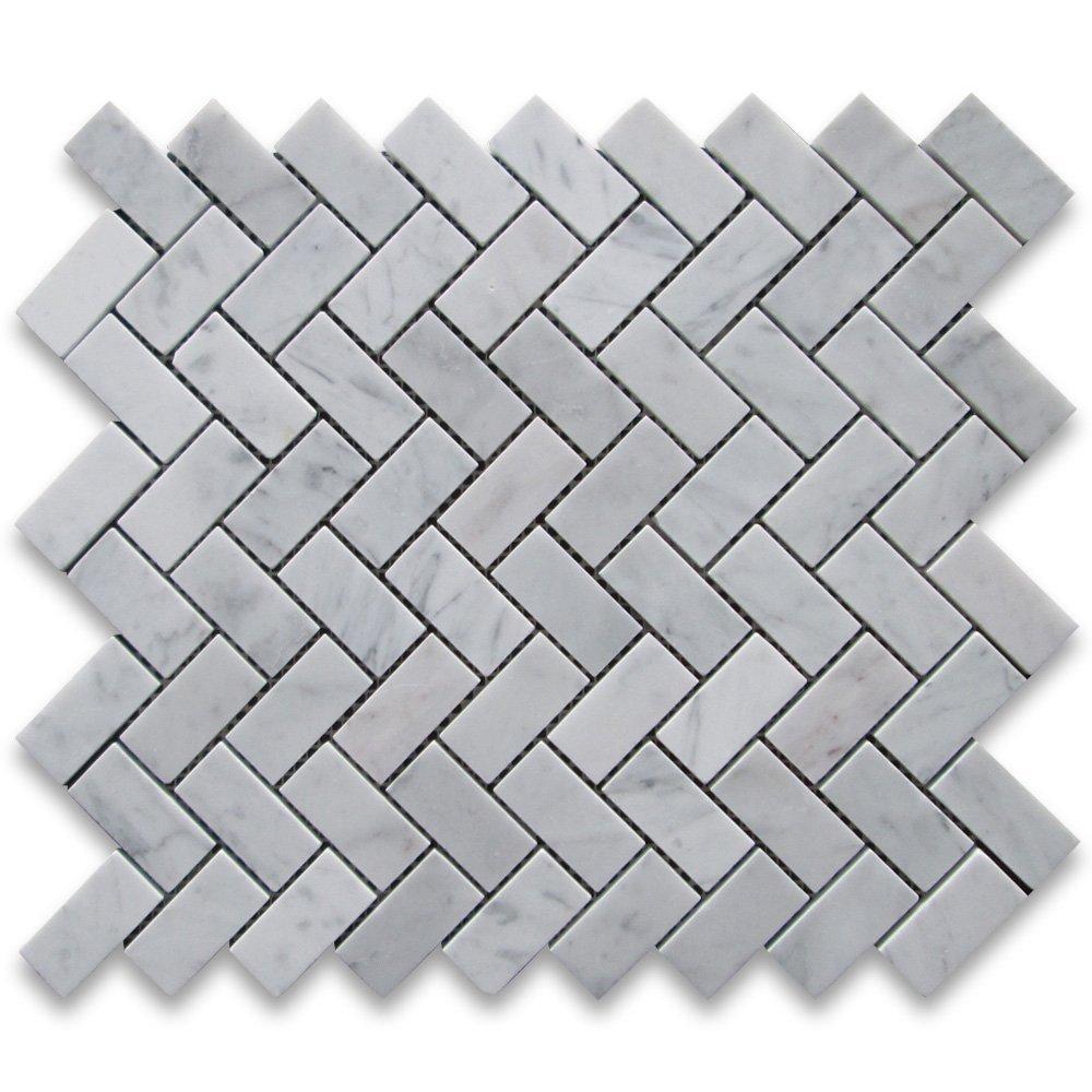 Carrara White Italian Carrera Marble Herringbone Mosaic Tile 1 x 2 ...