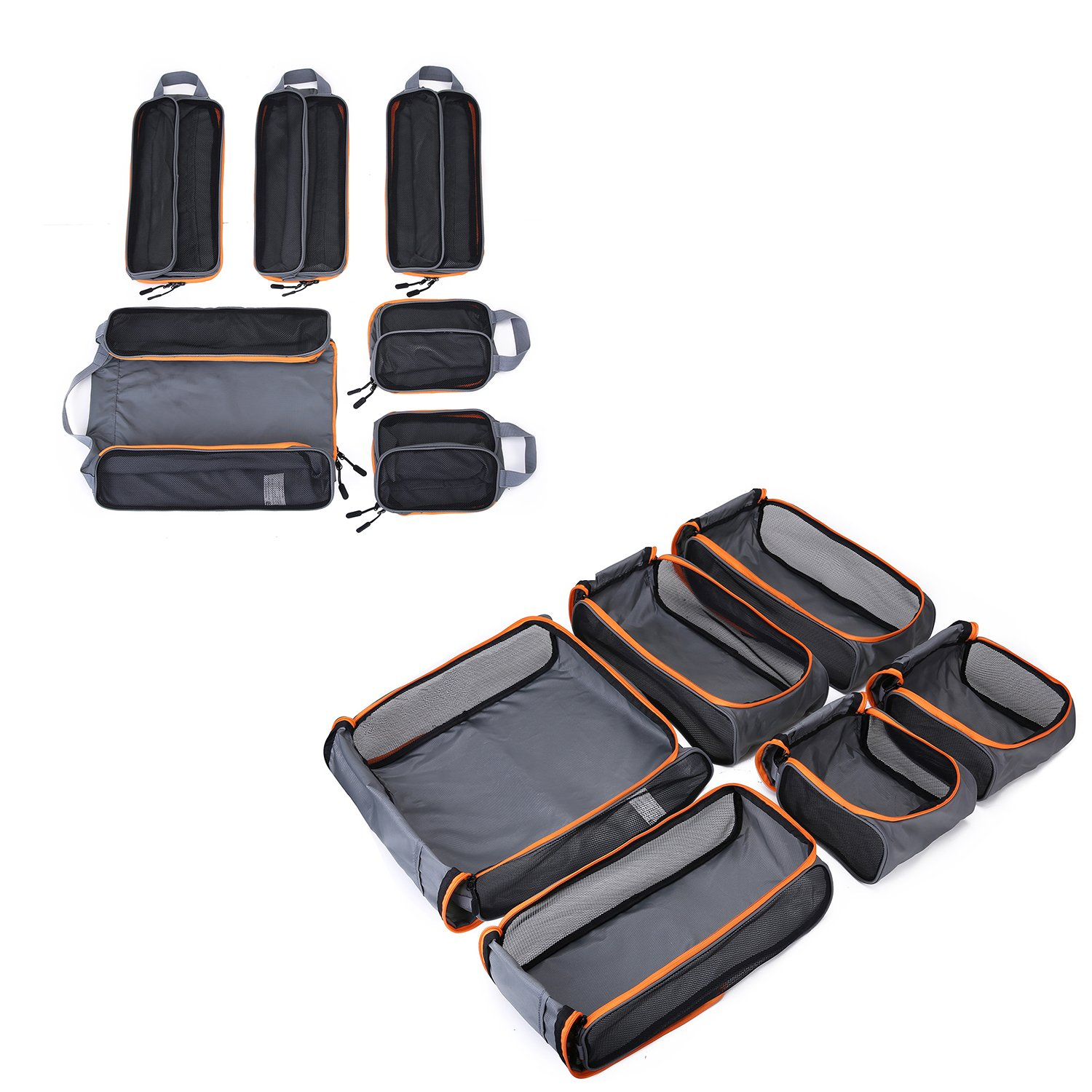 BAGSMART 6 Sets Packing Cubes 3 Sizes Portable Travel Luggage Organizer for Carry-on Accessories by BAGSMART (Image #3)