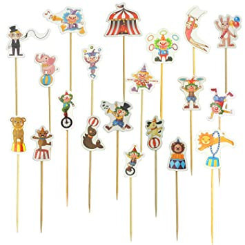 Circus Theme Cupcake Topper Picks Clown Animal Themed Cake Toppers Party Decoration 60 Pcs By SHXSTORE