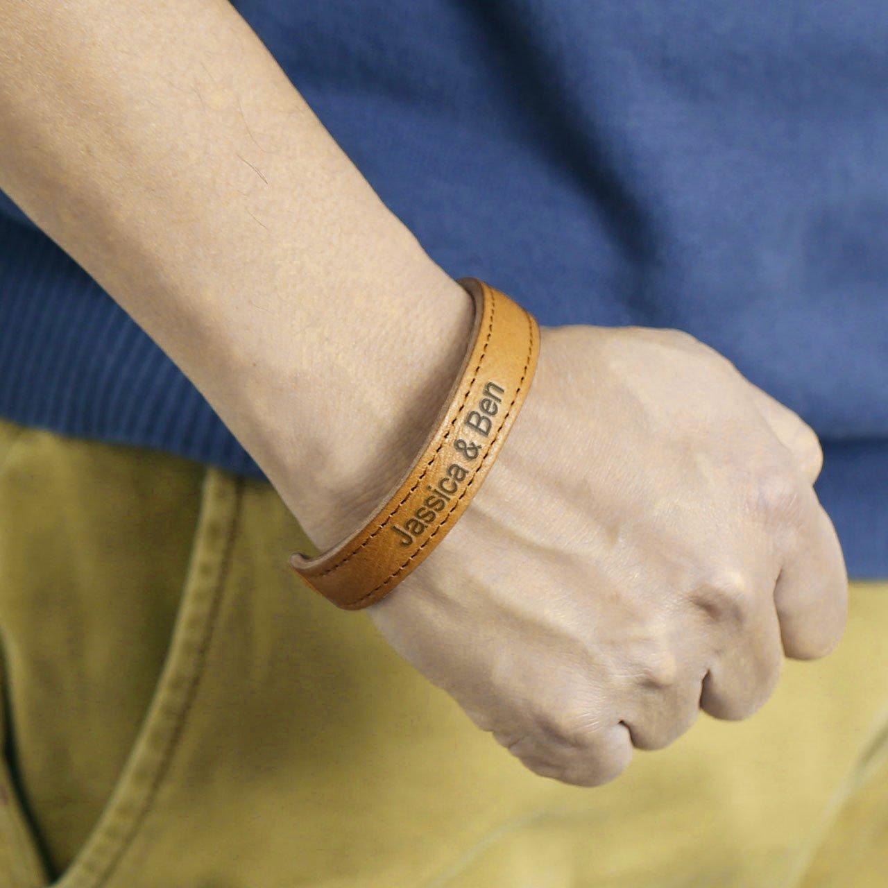 Zysta Free Engraving - Personalized Custom Men Women Simple Genuine Leather Bangle Bracelet Cuff Adjustable Wristband+Gift Box
