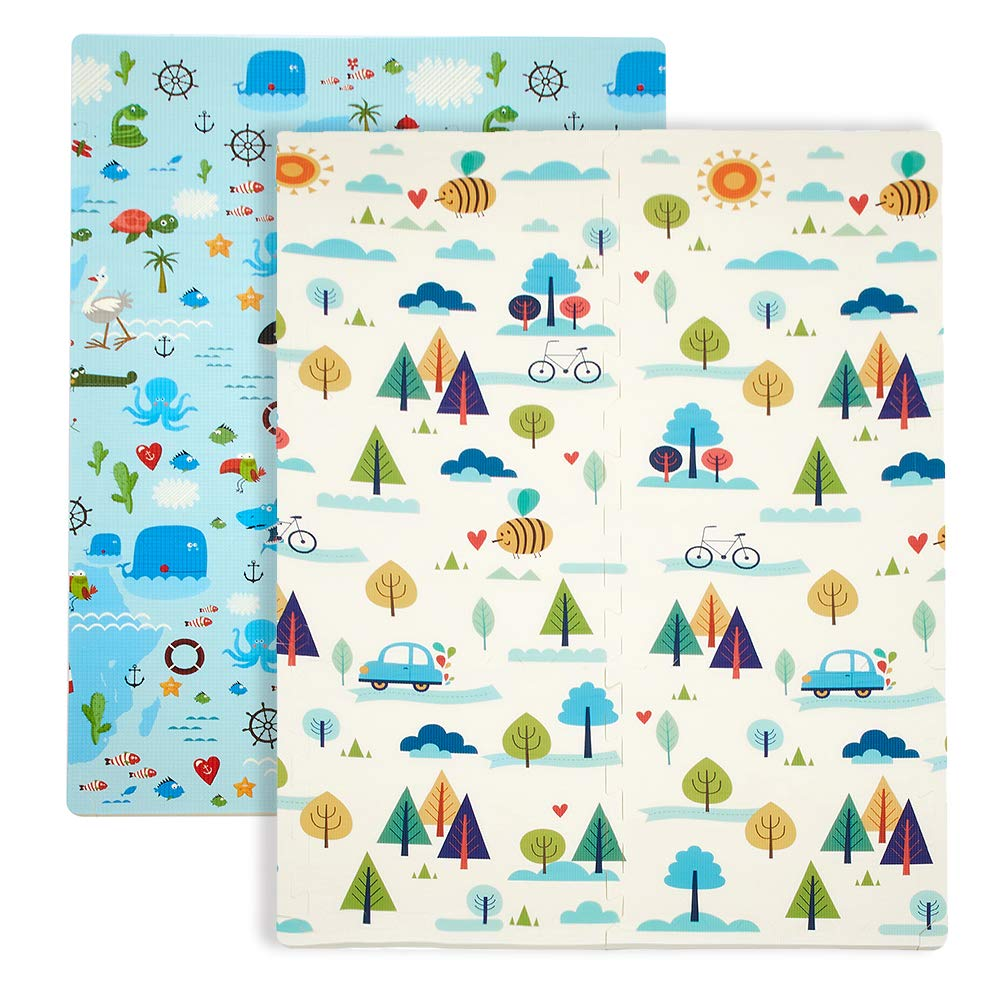 Baby Play Mat, XPE Foam Double Sided Floor Mat Soft Anti-Skid Large Baby Gym Mat Area Rugs Waterproof Non-Toxic Safe Yoga Mat Exercise Mat (71''x47'' Puzzle)