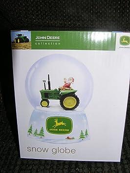 John Deere Santa Claus Driving A Tractor Snow Globe Water