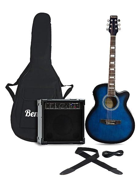 Semi de ráfaga de Benson eléctrico electro azul paquete Guitarra Acústica y amplificador de 15 W