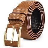 VBIGER Reversible Leather Belt for Men Genuine Jeans Belt Dress Belt with Prong Buckle