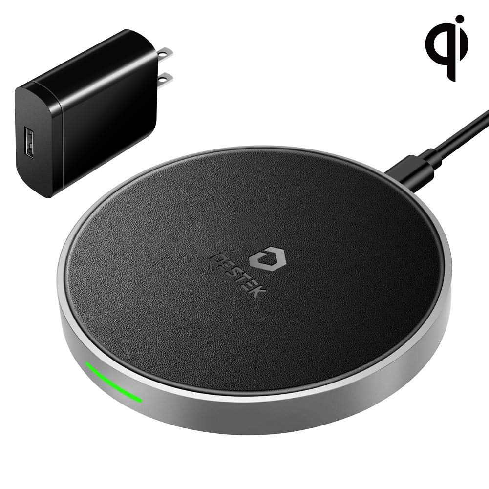 DESTEK Fast Wireless Charger for iPhone Xs – Wireless Charging Pad for iPhone & Samsung (7.5W for iPhone X Xs 8 8plus, 10W for S9+ S8 Note 9 8), 5W for Others Qi-Enabled Smartphones (with 18W Adapter)
