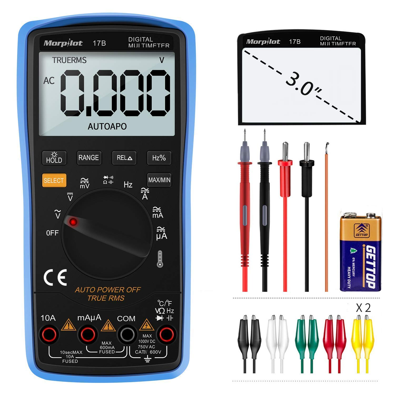 Digital Multimeter, Morpilot Auto-Ranging 6000 Counts DC/AC Voltage & Current, Resistance, Frequency, Continuity, Capacitance, Diode, Temperature, 3.0 Inch Backlight Large LCD Display & Test Leads by Keenstone