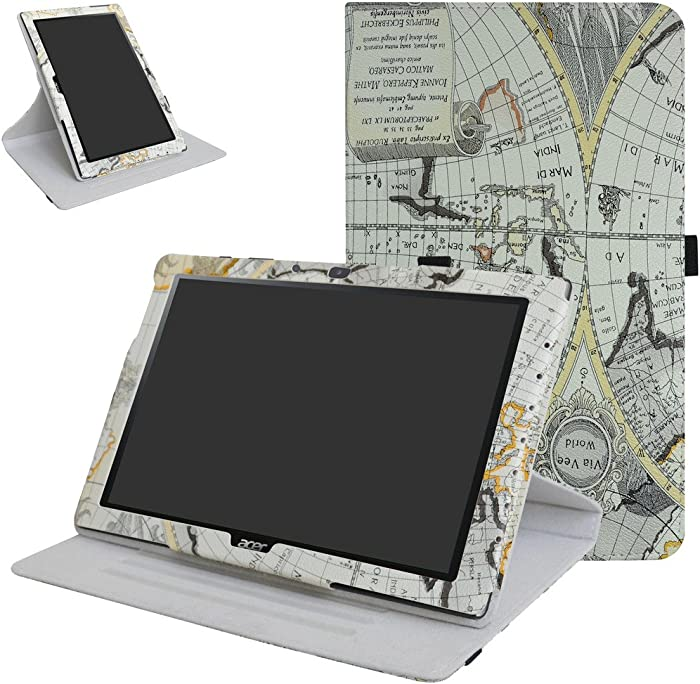 "Acer Iconia One 10 B3-A40 Rotating Case,Mama Mouth 360 Degree Rotary Stand with Cute Pattern Cover for 10.1"" Acer Iconia One 10 B3-A40 Android Tablet,Map White"