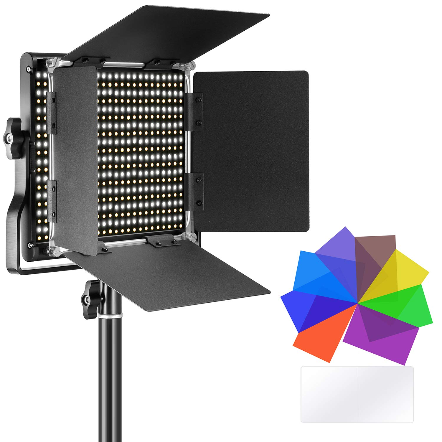 Neewer Bi-Color 660 LED Video Light with 8-Pack Lighting Color Filters, Dimmable 660 Beads with U Bracket and Barndoor, 3200-5600K, CRI 96+ for Studio, YouTube, Product Portrait Photography