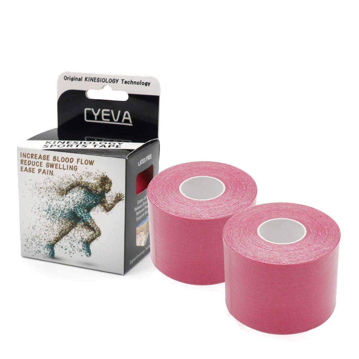 FDA Approved Elastic Kinesiology Therapeutic Tape Supporting Tapes for Athletic Muscles Compression to Promote Recovery 2 Rolls/pk Pink