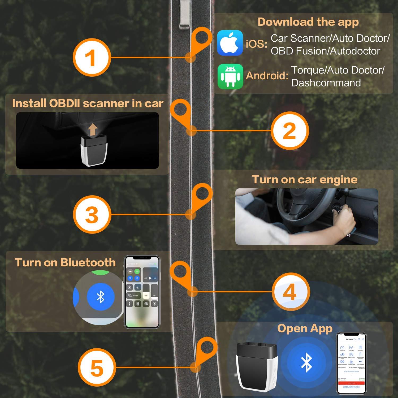 GEMWON OBD2 Scanner Bluetooth Upgrade 4.0 OBD-II Code Reader Adaptador ELM327 Herramienta de Diagn/óstico Autom/ático para Veh/ículos Comprobaci/ón de Condiciones Funciona con Dispositivos iOS Android