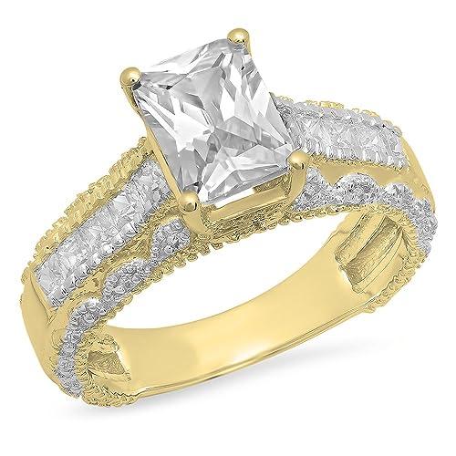 3,75 quilates (de quilate) 14 K oro esmeralda, princesa y corte