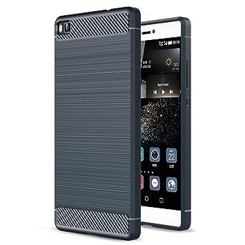 Funda Huawei P8, Landee Carbon fiber Soft Silicone Case Carcasas y funda para Huawei P8 (Azul)
