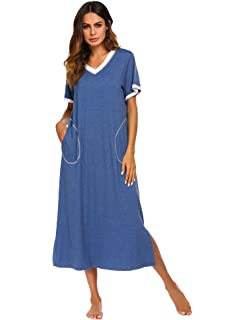 Ekouaer Loungewear Long Nightgown Women s Ultra-Soft Nightshirt Full Length  Sleepwear with Pocket 9e5aae015