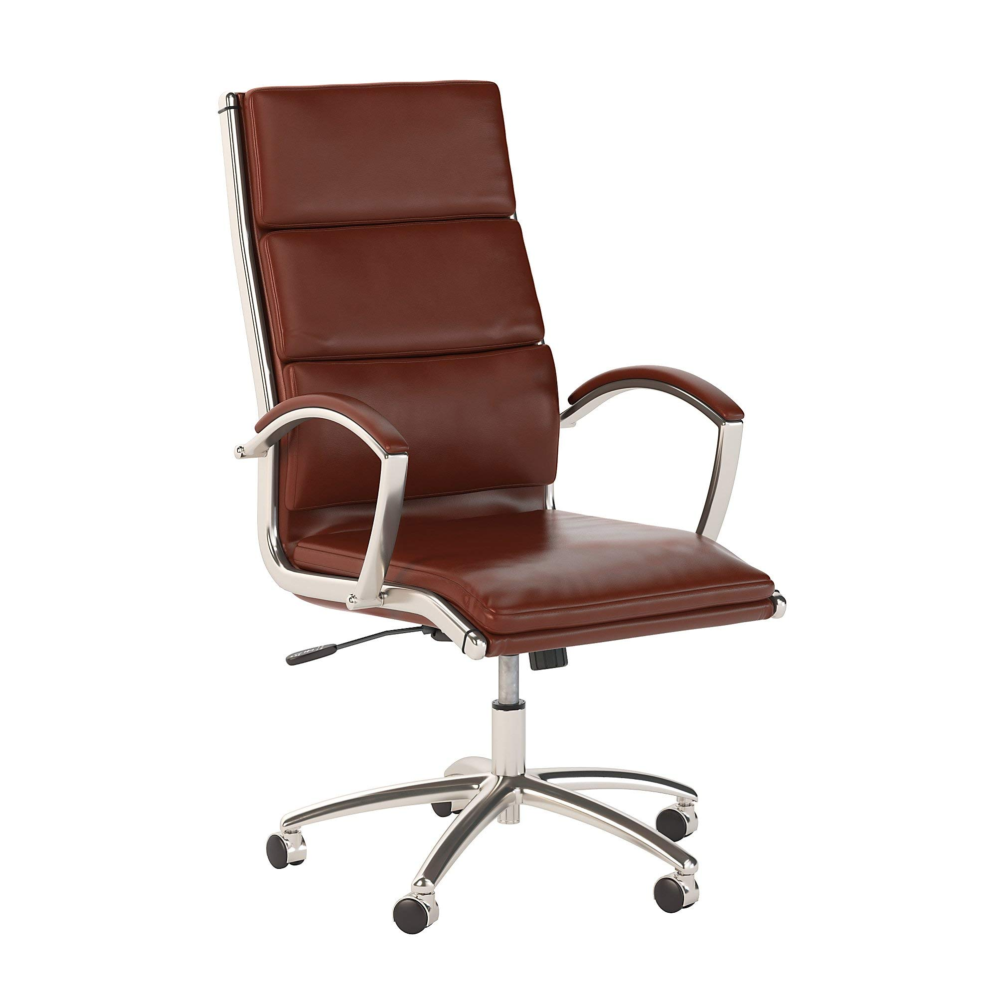 Bush Business Furniture High Back Leather Executive Office Chair for Conference Tables in Harvest Cherry