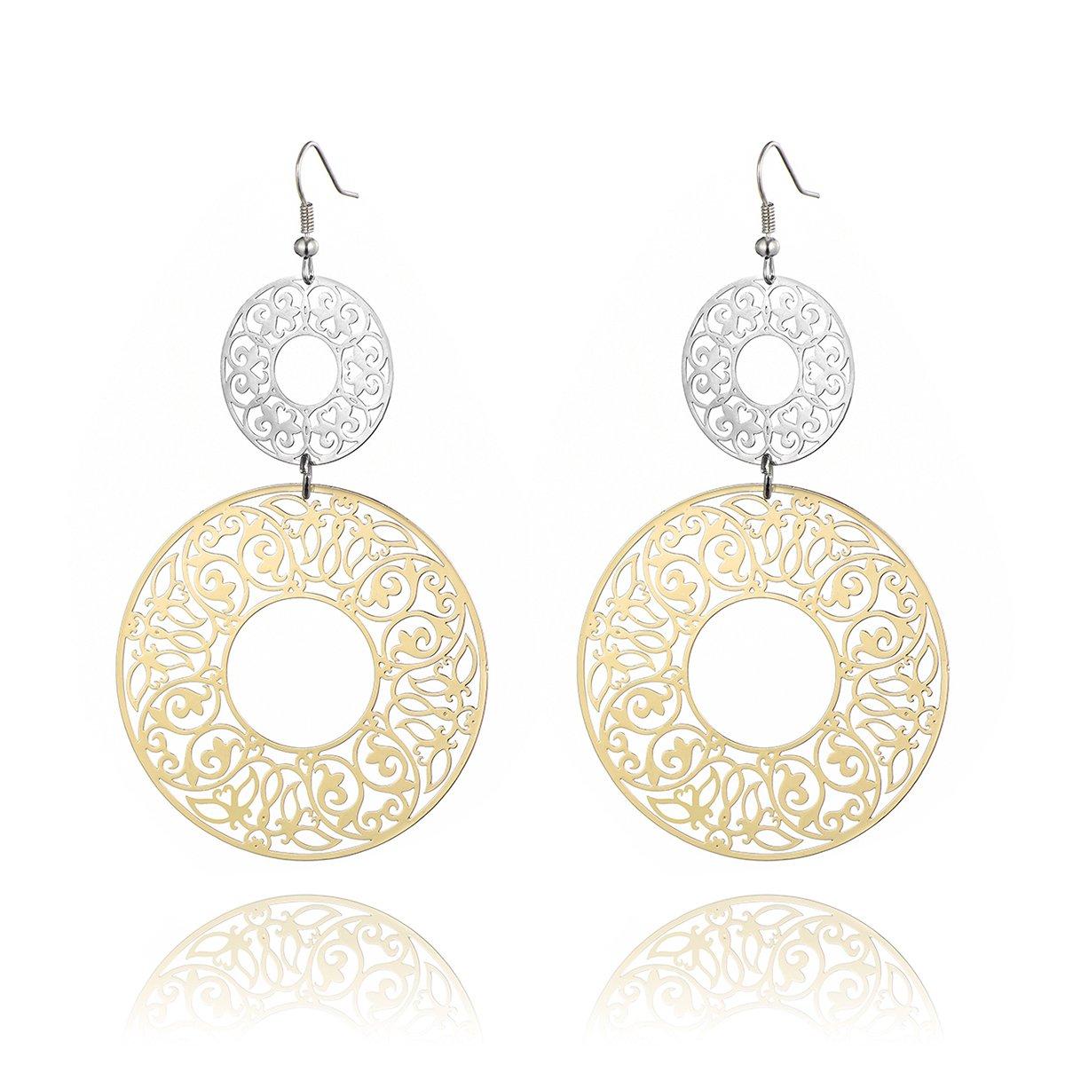 Dangle Earring for Women Hollow Pattern Drop Earring Girls Vintage Earring Anti-allergy Stainless Steel Earring