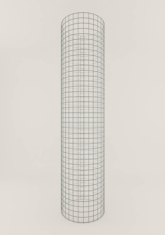 Säule Steinkorb-Gabione rund, Maschenweite 5 x 5 cm, Höhe 160 cm, Spiralverschluss, galvanisch verzinkt (47 cm Durchmesser)