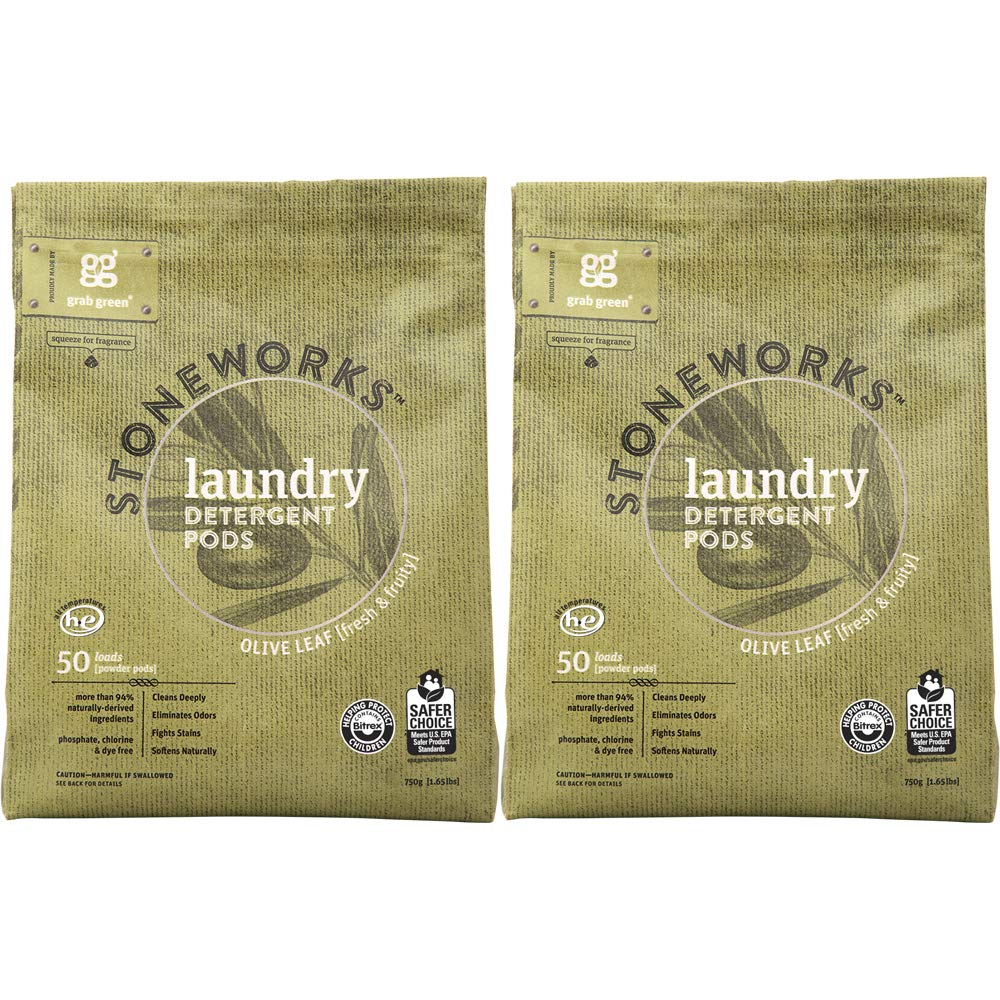 Grab Green Stoneworks Laundry Detergent Pods, Powered by Naturally-Derived Plant & Mineral-Based Powder Pods, Olive Leaf, 50 Loads, 2-Pack—EPA Safer Choice Certified