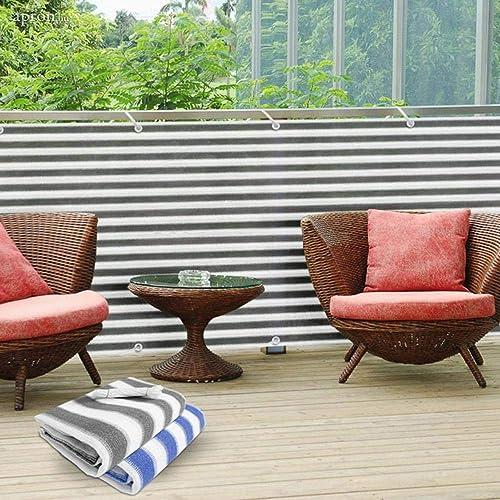 Frilivin Shade Sail Shade Mesh 85 UV-Block Garden Gazebo Cover Outdoor Sun Shelter Protection Privacy Screen Grey White Stripe 10'x13'