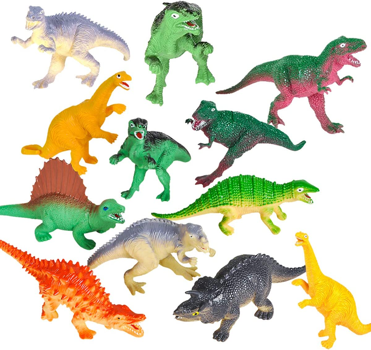 12 Pack Realistic Dinosaurs Figures Toys Assorted Dinosaur Figures with MULTI ST