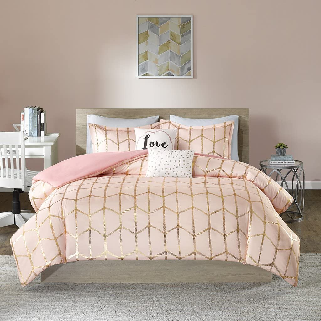 Intelligent Design Raina Metallic Printed Duvet Cover Set, King/Cal King, Blush/Gold