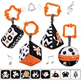 TUMAMA High Contrast Shapes Sets Baby Toys, Black and White Stroller Toy for Car Seat Baby Plush Rattles Rings Hanging…