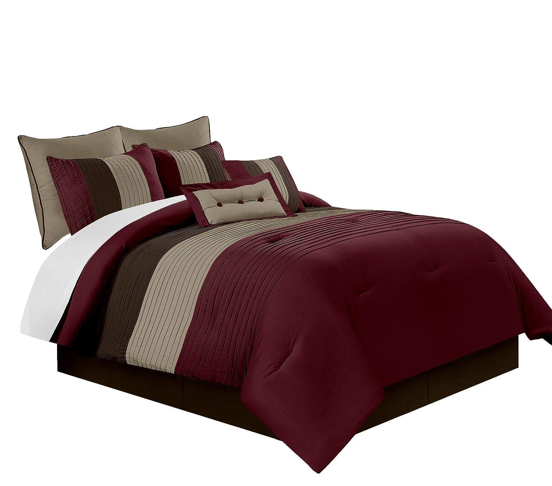 Chezmoi Collection Sydney 8-Piece Luxury Striped Comforter Set (Queen, Burgundy/Brown/Coffee)