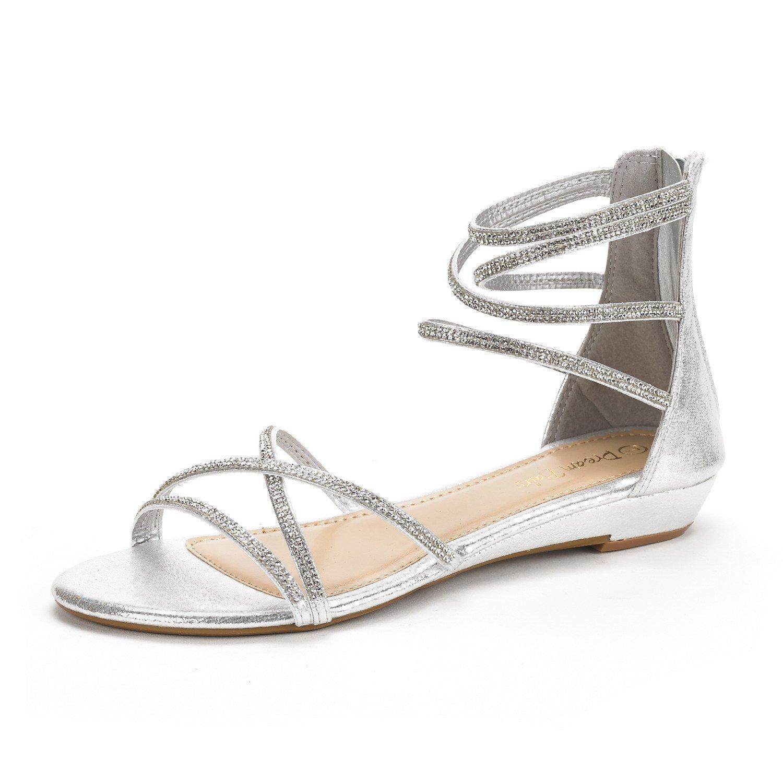 DREAM PAIRS Women's Weitz Silver Ankle Strap Rhinestones Low Wedge Sandals - 5 M US