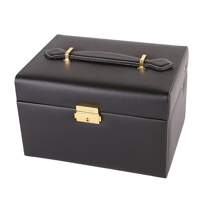TRESKO® Joyero | Caja para Joyas | Estuche de Joyas | con cojín para Pulseras o Relojes - De Cuero sintético Amplio cajón y asa para Transportar - Incluye ...