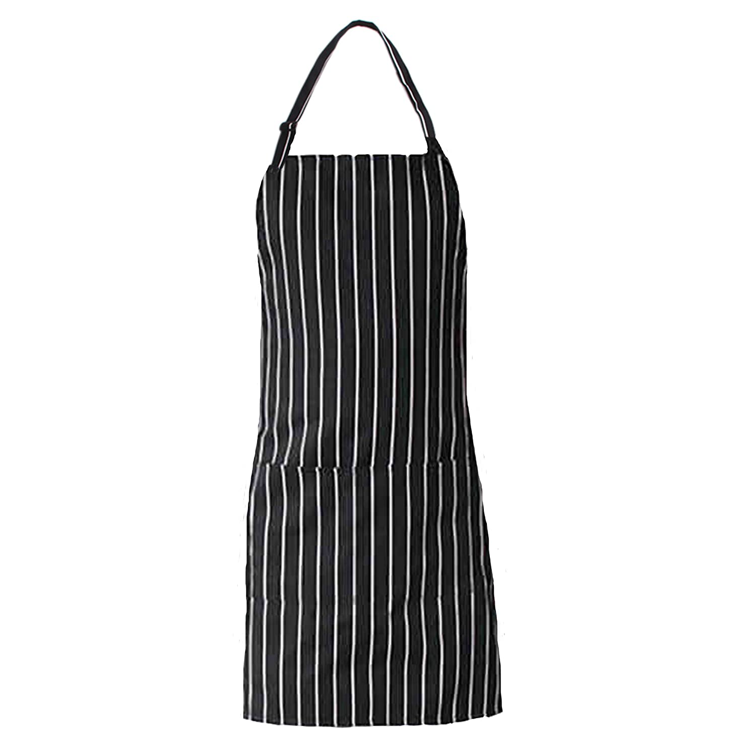 NormCorer Fashion Unisex Adjustable Pinstripe Bib Apron With Pockets- Extra Long Ties For Commercial Grade| Kitchenware| Barware- Black/White Navy Pinstripe (1pcs) (white/black-rectangular pocket)