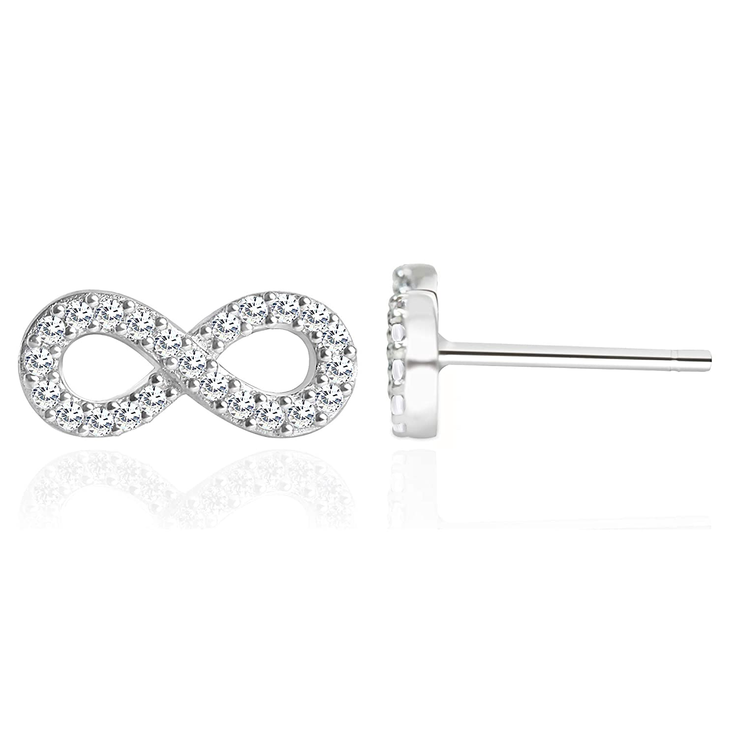 34e3fb966 Amazon.com: Spoil Cupid Rhodium Plated 925 Sterling Silver Cubic Zirconic  Full Set Infinity Stud Earrings: Jewelry
