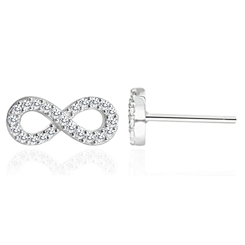 882ba1dfb Image Unavailable. Image not available for. Color: Spoil Cupid Rhodium  Plated 925 Sterling Silver Cubic Zirconic Full Set Infinity Stud Earrings