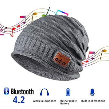 3e94e518c0c Pococina Upgraded 4.2 Bluetooth Beanie Music Hat Winter Knit Hat Cap  Wireless Headphone Musical Speaker Beanie